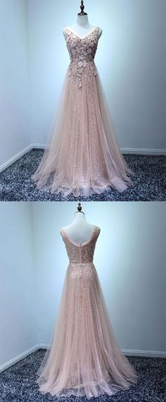 Light pink tulle swquins long prom dress, pink lace evening dress