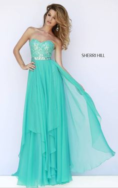 2015 Sweetheart Teal Sherri Hill 1943 Chiffon Evening Dress