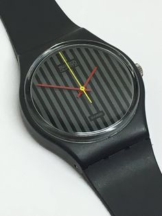 Swatch Watch Vintage Pinstripe GA102 1985 Grey Charcoal Stripes Retro Swatch Watch Christmas Gift by ThatIsSoFunny on Etsy