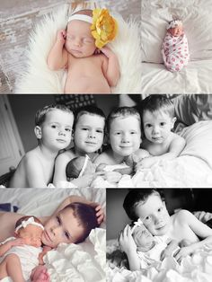 Newborn with siblings. This is previous. 4 boys and a girl finally