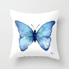 Blue Butterfly Watercolor Couch Throw Pillow by Olechka - Cover x with pillow insert - Indoor Pillow Light Blue Throw Pillows, Fluffy Pillows, Blue Pillows, Throw Cushions, Designer Throw Pillows, Outdoor Throw Pillows, Butterfly Bedroom, Butterfly Pillow, Blue Butterfly