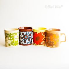 Vintage Retro 1960s/70s Coffee Mugs Flower Power Yellow Orange Brown by UpStagedVintage on Etsy