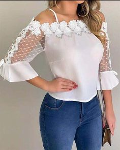 Flawless Summer Outfits Ideas For Slim Women That Looks Cool - Oscilling Trend Fashion, 90s Fashion, Fashion Outfits, Fashion Tips, Fashion Shoot, Casual Tops For Women, Blouses For Women, Workout Tops For Women, Cold Shoulder Blouse