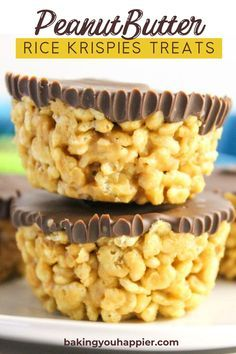 dessert recipes Peanut Butter Rice Krispies Treats, a dairy-free quick and easy to make no bake dessert! Everyone will love this not too sweet crispy treat! Peanut Butter Rice Krispies, Rice Krispies Treats, Recipes With Rice Krispies Cereal, Dairy Free Rice Krispie Treats, Peanut Butter Rice Krispie Treats Recipe, Healthy Rice Krispie Treats, Heathy Treats, Rice Crispy Cereal, Healthy Sweet Treats