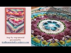 Step-by-step instructions for Sophie's Universe part The rounds shown in this video are also part of Sophie's Garden and Sophie's Mandala. Mandala Au Crochet, Manta Crochet, Crochet Motif, Crochet Designs, Crochet Flowers, Crochet Stitches, Crochet Hooks, Free Crochet, Crochet Patterns