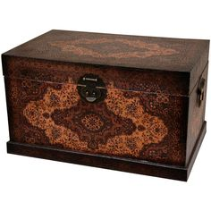 Oriental Furniture Olde-Worlde Baroque Storage Box (22.870 RUB) ❤ liked on Polyvore featuring home, home decor, small item storage, furniture, faux leather storage box and european home decor