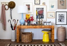 burlwood console table + blue and yellow accents