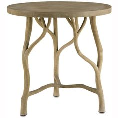 Steel framework covered with artfully hand-applied concrete form realistic tree branch legs for this unique table! This organic, rustic table moves with ease outdoors or inside to your breakfast nook...