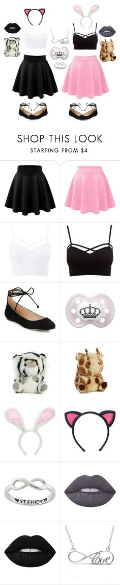 """Kitten and bunny"" by xxkrysxx ❤ liked on Polyvore featuring Charlotte Russe, Karl Lagerfeld, Eternally Haute, Lime Crime, Allurez, Bunny, BestFriends, kitten, ddlg and littlespace"
