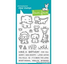 Planche de 23 tampons transparents Wild For You à utiliser avec un bloc acrylique (non fourni). Un tampon mesure de 0.7 cm à 5.5 cm environ