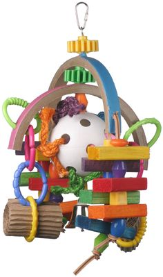 Super Bird Creations 15 by Lost in Space Bird Toy, Large: Half moon birdie bagels loaded with chunky wooden blocks, giant plastic beads, gear wheels and bumpy links all orbit around a large whiffle ball that's filled with wood goodies. Homemade Bird Toys, Diy Bird Toys, Bird Crafts, Amazon Birds, Diy Bird Cage, Space Toys, Parrot Toys, Conure, Cockatiel