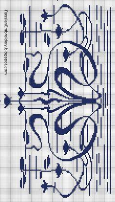 Pin by paca on art nouveau and art deco stitching Cross Stitch Art, Cross Stitch Borders, Modern Cross Stitch Patterns, Cross Stitch Flowers, Cross Stitching, Cross Stitch Embroidery, Art Nouveau Pattern, Filet Crochet Charts, Tapestry Crochet