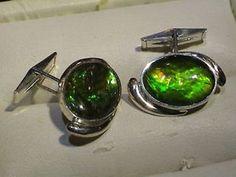 【送料無料】カフリンクス カフスボタン ゴールドカラースターリングシルバーカフスボタンammolite oval 18 x 13 brilliant green  gold colour, sterling silver cufflinks