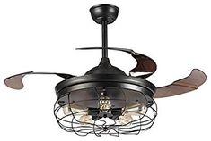 Retractable blade ceiling fan Vintage Industrial - LampsLuma