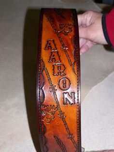 Hand-tooled Leather Rifle Sling $50  MillCreekLeather.com