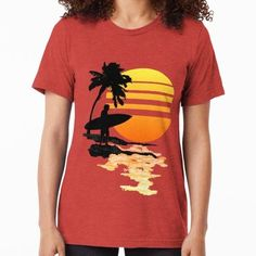 'Surfing Sunrise' Tri-blend T-Shirt by BailoutIsland Original Longboard, Sup Accessories, Pool Shoes, Female Models, Sunrise, Surfing, Mens Tops, T Shirt, Women