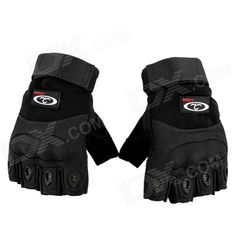 OUMILY Outdoor Tactical Half-finger Gloves - Black (Size L / Pair) Price: $12.73