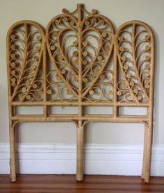 Pair of Vintage Rattan Peacock Twin Size Headboards. #wicker #headboards  pinned by wickerparadise.com