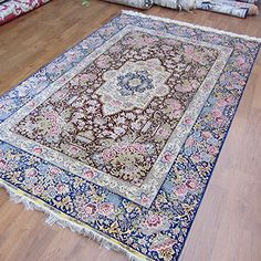 Camel Carpet Red and Blue Persian Silk Bedroom Rugs 5'x8'