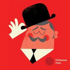 Adrian Johnson Studio Ltd. Politeness Pays illustration graphic design retro vintage style graphic
