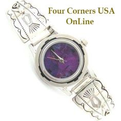 Four Corners USA Online - Women's Stamped Sterling Watch Mohave Purple Turquoise Face Native American Silver Jewelry, $109.00 (http://stores.fourcornersusaonline.com/womens-stamped-sterling-watch-mohave-purple-turquoise-face-native-american-silver-jewelry/)