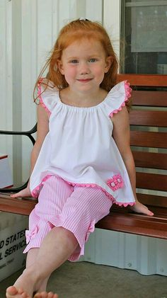 """""""Candy Stripe"""" Top & Capri Two-Piece, Pattern by Olive Ann Designs & Children's Corner Sewing Kids Clothes, Sewing For Kids, Baby Sewing, Doll Clothes, Kids Clothing, Little Girl Outfits, Little Girl Fashion, Little Girl Dresses, Kids Fashion"""