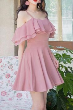 Elegant Pink Spaghetti Straps Chiffon Homecoming Dresses Sweet 16 Dresses SSM, This dress could be custom made, there are no extra cost to do custom size and color. Mini Prom Dresses, Sweet 16 Dresses, Sweet Dress, Women's Dresses, Pretty Dresses, Beautiful Dresses, Short Dresses, Fashion Dresses, Dress Prom