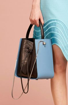 Chocolate brown + bright blue leather bucket handbag with silver metal strap 3.1 Phillip Lim Resort 2015 #Resort15 #bag