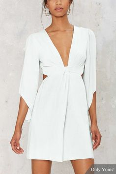 White Sexy Plunge V-neck Playsuit with 3/4 length sleeves -YOINS