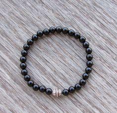 Genuine Black Onyx Bracelet with a Tibetan Sterling by BBTresors