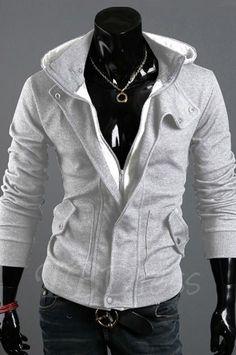 TBDress - TBDress Light Gray Lapel Zip-Front Hoodie - AdoreWe.com