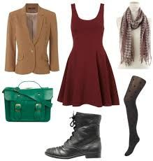 Resultado de imágenes de Google para http://cloud.collegefashion.net/wp-content/uploads/2012/01/little-red-dress-look-for-day-with-tan-blazer-emerald-satchel-black-boots-polkadot-tights-and-patterned-scarf.jpg