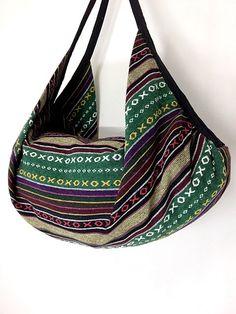 Handmade Hippie bag Hobo bag Boho  bag Shoulder bag Backpack Purse - woven cotton  (L)