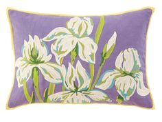 Iris Pillow, vibrant, but not harsh.  soothing colors and almost impressionistic touches to the details on the blossoms.