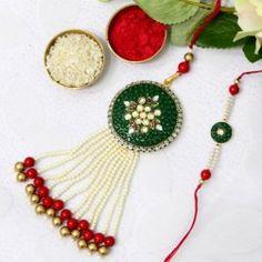 Dashing green rakhi lumba set