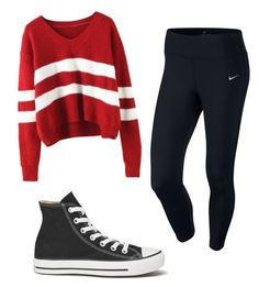"""Sporty"" by sunshine1877 ❤ liked on Polyvore featuring NIKE and Converse"