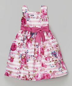 Look what I found on #zulily! Pink Floral Stripe Shantung Dress - Toddler & Girls by Jayne Copeland #zulilyfinds