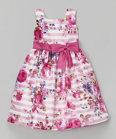 Look what I found on #zulily! Pink Floral Stripe Shantung Dress - Toddler & Girls by Jayne Copeland #zulilyfinds
