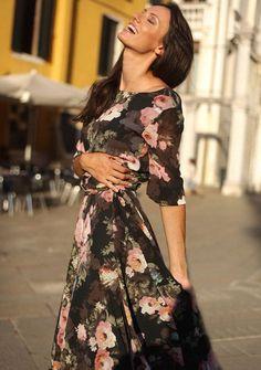 3/4 Sleeve Bohemian Floral High Waist Slim Chiffon Long Maxi Dress