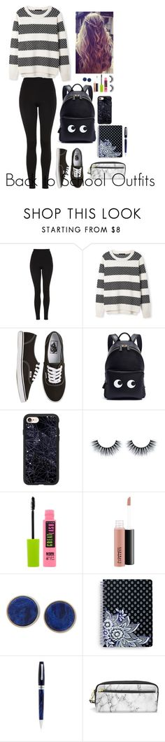 """""""Back to School Outfits #16"""" by gussied-up ❤ liked on Polyvore featuring Topshop, Vans, Anya Hindmarch, Casetify, Maybelline, MAC Cosmetics, DKNY, Vera Bradley and Montegrappa"""