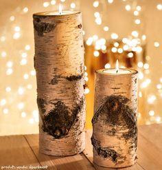 God Jul signifie Joyeux Noël en norvégien! Et cet hiver les tendances en décoration de Noël sont très influencées par le design scandinave. Des photophores buches de bois de bouleau chez Nature & Découvertes – 16,95€ l'un