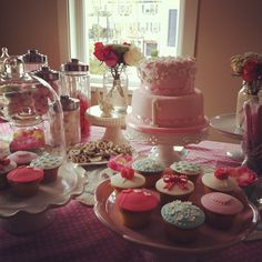 Gorgeous layout for a 1st birthday sweets table :)