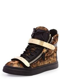 5de7603f82563 top quality zanotty gz women men leopard high top sneakers gold buckle real  leather giuseppe shoes