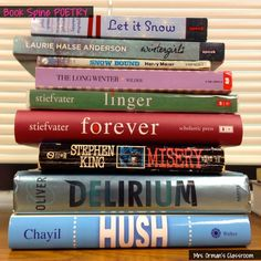 Orman's Classroom: Book Spine Poetry: Using the Titles of Books to Write Poetry Teaching Schools, Teaching Activities, Teaching Tips, Poetry Unit, Poetry Books, Teaching Poetry, Teaching Writing, Poetry Lessons, National Poetry Month