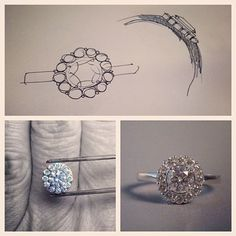 created to have a flower effect with as little metal showing as possible. This came out really beautifully and delivered to a very happy customter! Designer Engagement Rings, Ring Designs, Find Image, Wedding Rings, Stud Earrings, Diamond, Create, Metal, Happy