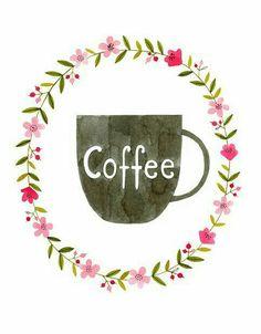 Floral Coffee Print Coffee Watercolor by morningswithcoffee Coffee Illustration, Watercolor Illustration, Watercolor Art, Coffee Girl, Coffee Love, But First Coffee, White Coffee, Coffee Barista, Coffee Menu