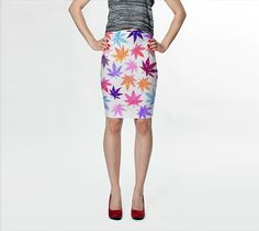 "Fitted Skirt ""Hempy Autumn Pot Leaves"" by Jenny Mhairi"
