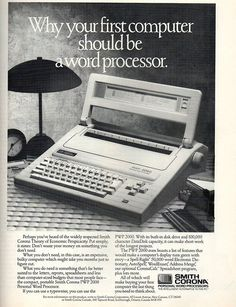 Smith Corona dedicated word processor.  I wrote my first dissertation on something like this. It had a flywheel that stamped out words like a typewriter, and a flip down screen that allowed you to view just 6 lines of text at a time. But it was either this or learn how to touch type!