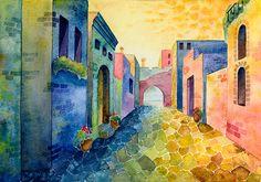 Greece 1  print watercolor 13 X 18 cm warm vivid by ceciliaelfving