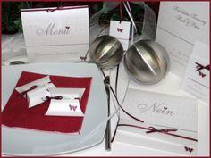 """Hochzeitskarten """"Nein"""" in bordeauxrot & weiß"""
